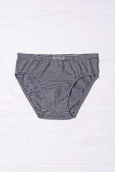 Striped pattern briefs in stretch cotton., Navy Blue, hi-res
