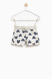 100% cotton shorts with heart print, Grey Marl, hi-res