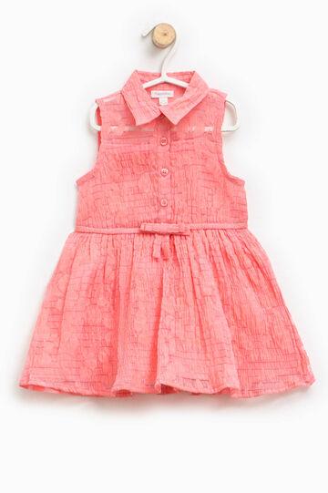 Vestido sin mangas con trama en relieve, Rosa coral, hi-res