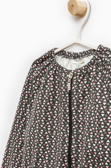 100% cotton patterned sweatshirt with zip, Dark Grey, hi-res