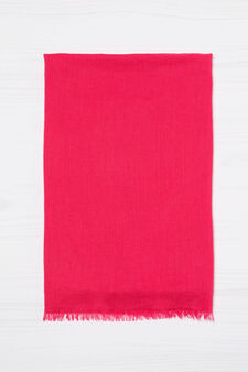 Solid colour fringed scarf, Fuchsia, hi-res