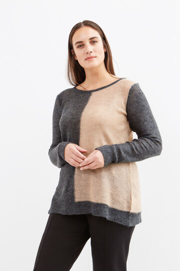 Curvy two-tone pullover with boat neck, Multicolour, hi-res
