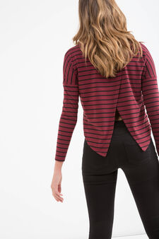 Teen cropped and striped stretch T-shirt, Claret Red, hi-res