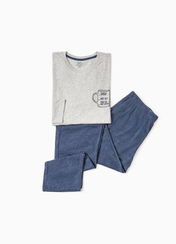 Cotton pyjamas with print on chest | OVS