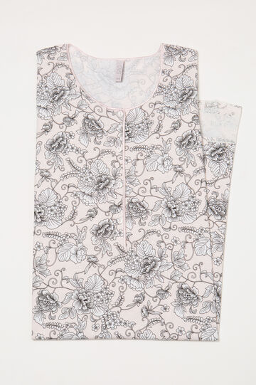 Nightshirt with print and lace, Pink, hi-res