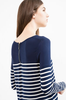 T-shirt maniche lunghe fantasia a righe, Blu navy, hi-res