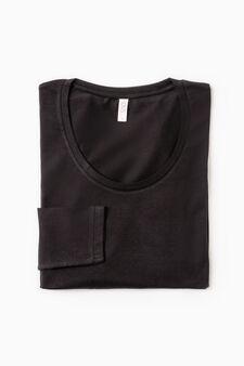 Stretch undershirt with long sleeves, Black, hi-res
