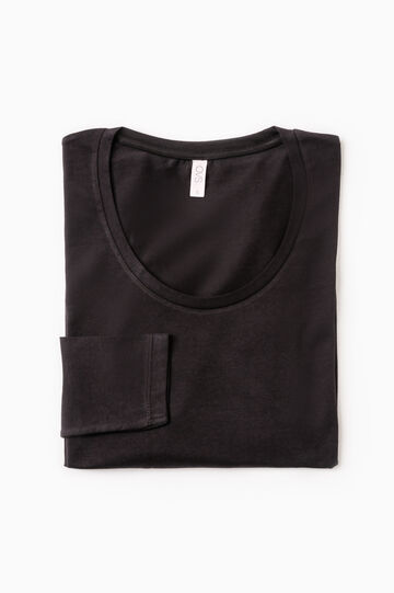 Stretch undershirt with long sleeves, Black, hi-res