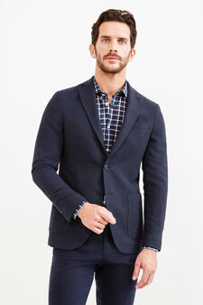 Rumford two-button jacket with micro pattern, Blue, hi-res