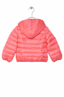 Down jacket with hood, Fuchsia, hi-res