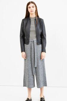 Pantaloni crop stretch cintura a fiocco, Grigio, hi-res