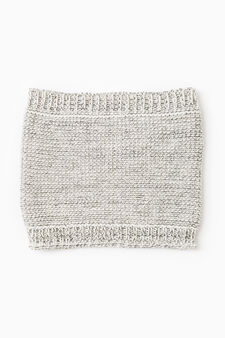 Knitted neck warmer with ribbing, Grey, hi-res