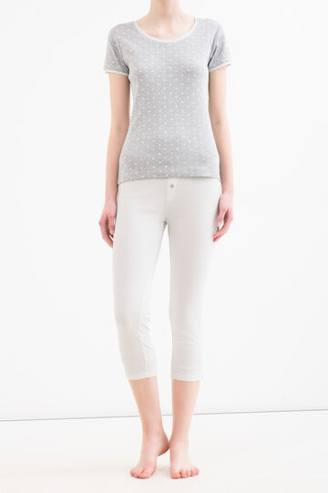 Pantaloni pigiama cotone a righe, Grigio melange, hi-res