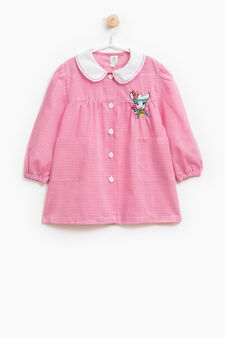 Micro check smock in cotton blend, White/Pink, hi-res