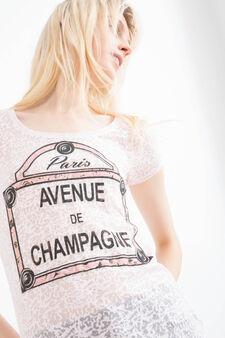 Cotton blend printed T-shirt, Powder Pink, hi-res