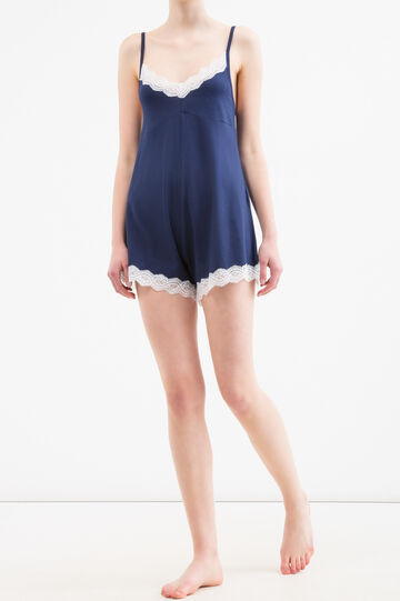 Short sleepsuit in cotton and lace, Navy Blue, hi-res