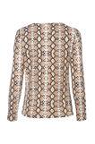 Smart Basic patterned stretch T-shirt, Brown, hi-res