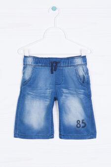 Denim shorts with drawstring, Soft Blue, hi-res