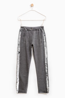 Trousers with sequins, Grey Marl, hi-res