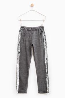 Pantaloni con paillettes applicate, Grigio melange, hi-res