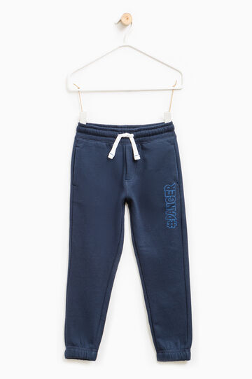 Joggers with lettering, Blue, hi-res