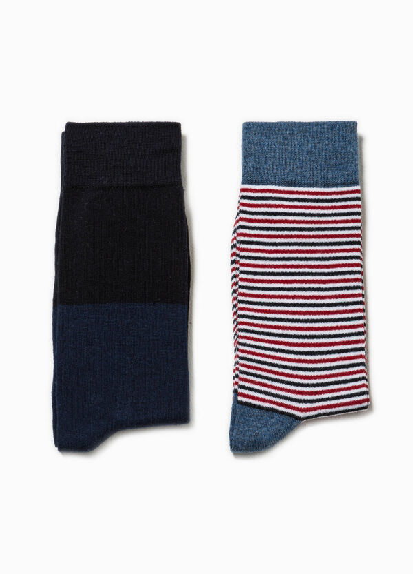 Two-pair pack short two-tone and striped socks | OVS
