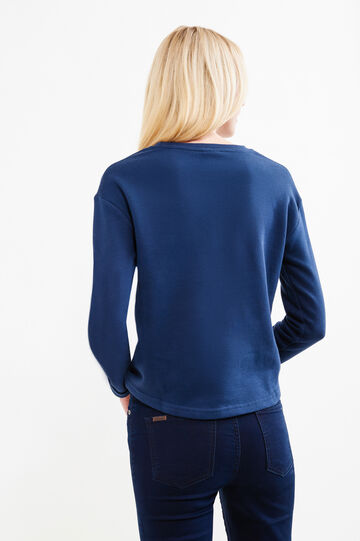 Crop cotton sweatshirt with embroidery, Blue, hi-res