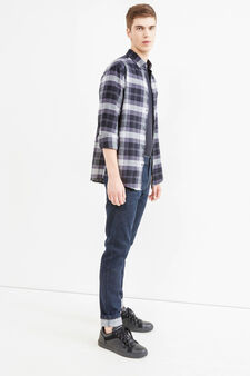 Casual shirt with chest pocket, Black/Grey, hi-res