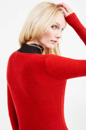 Pullover misto mohair stretch, Rosso, hi-res