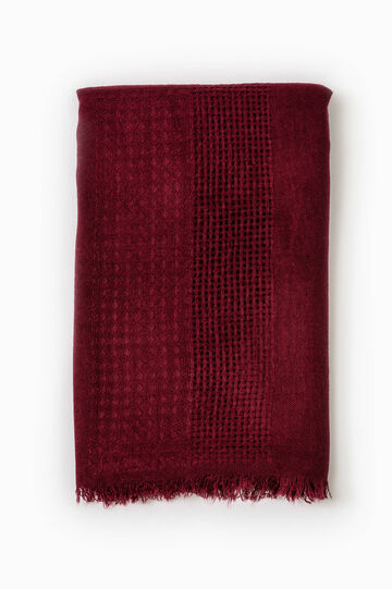 Solid colour openwork scarf, Red, hi-res