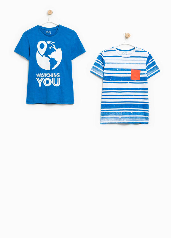 Set due t-shirt stampa e righe | OVS