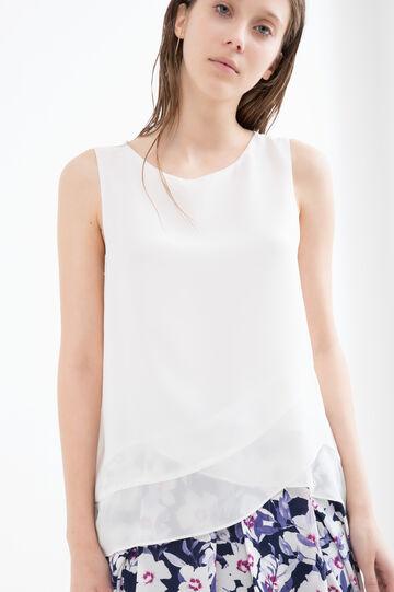 Plain sleeveless blouse., Cream White, hi-res
