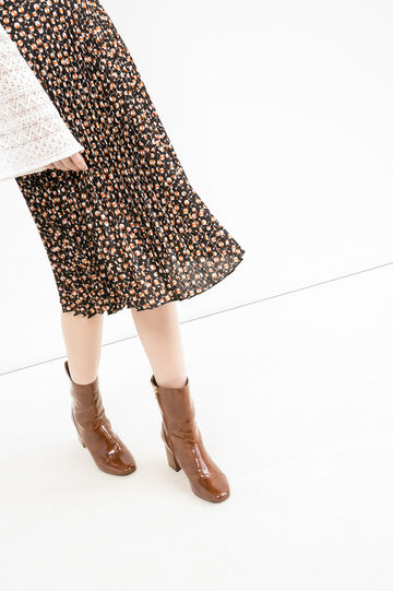 Full flared pleated skirt with high waist, Brown, hi-res