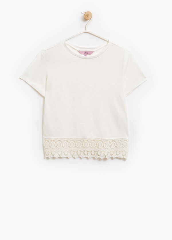 100% cotton T-shirt with lace inserts | OVS