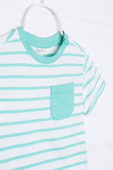 T-shirt puro cotone a righe, Bianco/Verde, hi-res