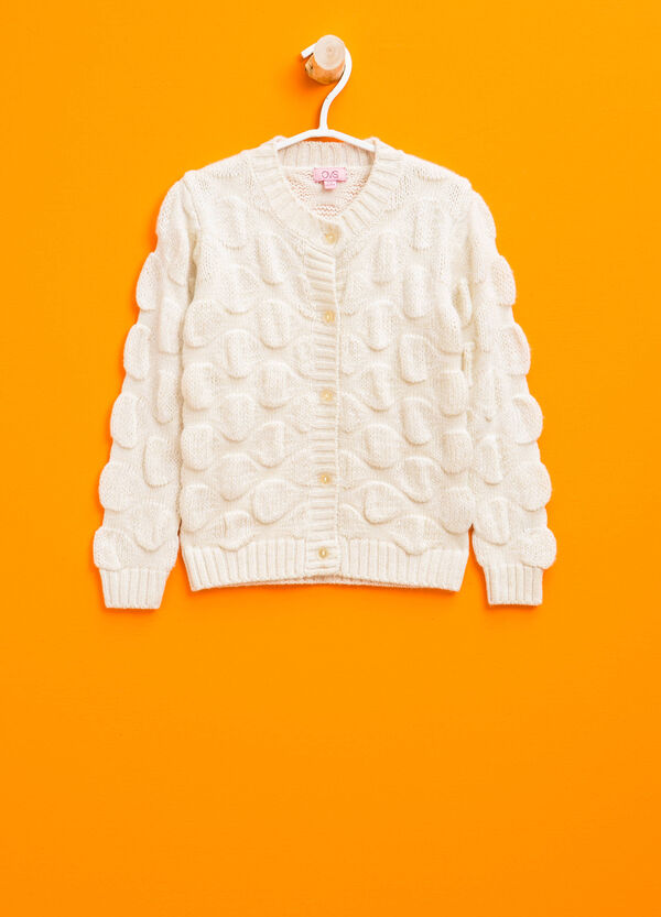 Wool cardigan with embossed weave | OVS