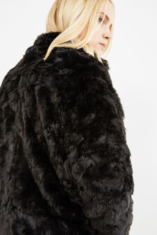 Curvy jacket with faux fur, Black, hi-res