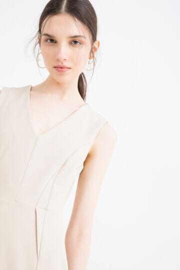 Solid colour stretch pencil dress, Sand, hi-res