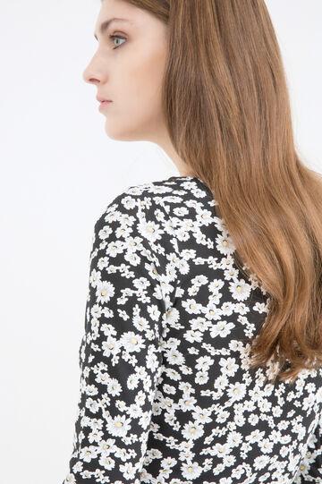Short printed dress in stretch cotton, Black print 1, hi-res