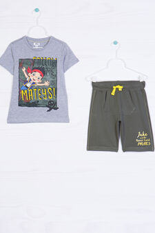 Cotton outfit with Disney print, Grey/Green, hi-res