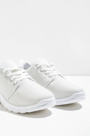 Sneakers with openwork upper, Cream White, hi-res