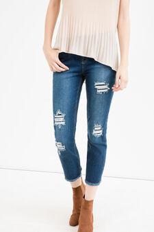 Jeans skinny fit crop con strappi, Lavaggio medio, hi-res