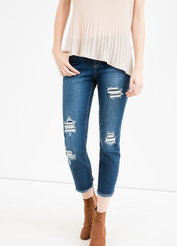 Ripped, skinny-fit crop jeans | OVS