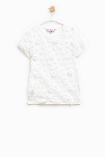 Cotton lace T-shirt with flowers