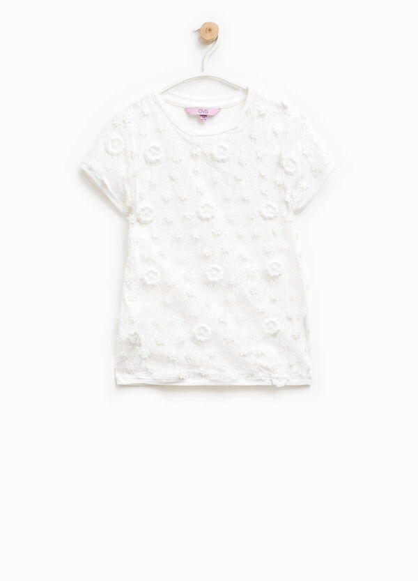 Cotton lace T-shirt with flowers | OVS
