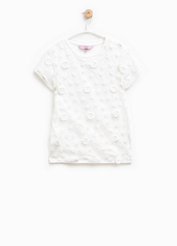 T-shirt in pizzo di cotone con fiori | OVS