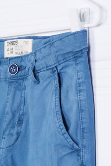 Pantaloni chino in cotone stretch, Blu, hi-res