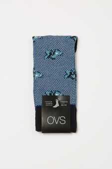 Short stretch socks with pattern, Blue, hi-res