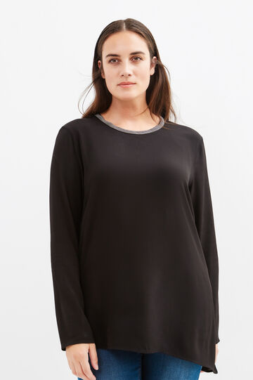 Curvy blouse with fastening on the back, Black, hi-res