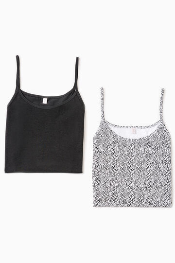Two-pack plain and printed tops, White/Black, hi-res